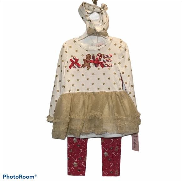 Little Lass Toddler Gold n Red Christmas outfit-4T